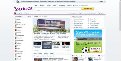 Yahoo screen shot
